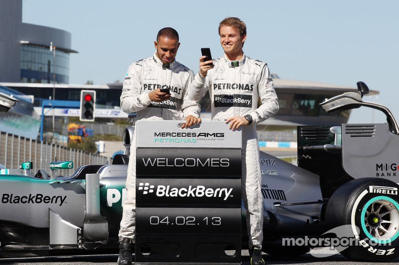 Lewis Hamilton e seu novo companheiro de equipe na Mercedes, Nico Rosberg