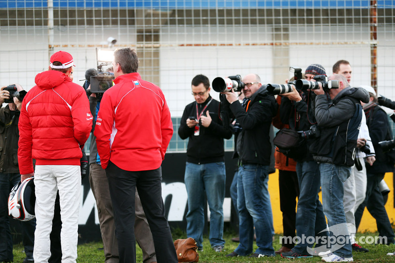 Max Chilton, Marussia F1 Team and Graeme Lowdon, Marussia F1 Team Chief Executive Officer with the media