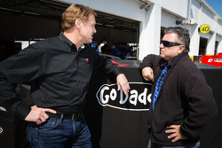 Rusty Wallace with the father of Danica Patrick, Stewart-Haas Racing Chevrolet, T.J. Patrick