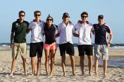 Rookie drivers on the beach, Giedo van der Garde, Caterham F1 Team; Esteban Gutierrez, Sauber; Max Chilton, Marussia F1 Team; Jules Bianchi, Marussia F1 Team; Valtteri Bottas, Williams