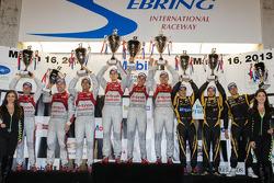 P1 podium: class and overall winner #1 Audi Sport Team Joest Audi R18 e-tron quattro: Marcel Fässler, Benoit Tréluyer, Oliver Jarvis, second place #2 Audi Sport Team Joest Audi R18 e-tron quattro: Lucas di Grassi, Tom Kristensen, Allan McNish, third place