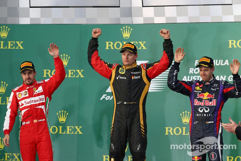 2013. Подіум: 1. Кімі Райкконен, Lotus Renault. 2. Фернандо Алонсо, Ferrari. 3. Себастьян Феттель, Red Bull Renault
