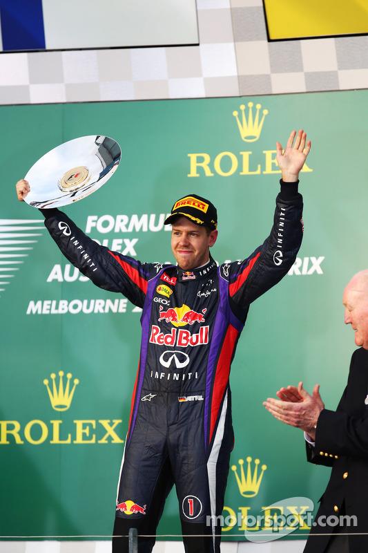 Sebastian Vettel, Red Bull Racing viert zijn derde plek op het podium