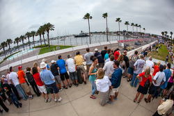 Fans watch the race action