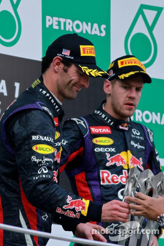 pódio: vencedor Sebastian Vettel, Red Bull Racing, segundo colocado Mark Webber, Red Bull Racing