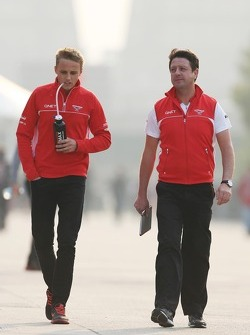 Max Chilton, Marussia F1 Team with Dave O'Neill, Marussia F1 Team Manager