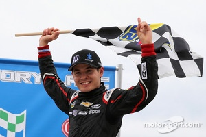 Kyle Larson celebrates