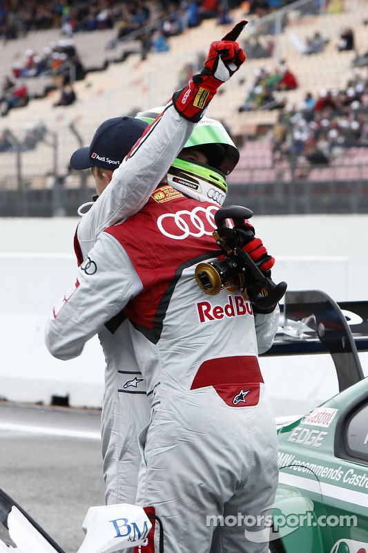 pole Timo Scheider, Audi Sport Team Abt Audi RS 5 DTM com Mattias Ekström, Audi Sport Team Abt Sport