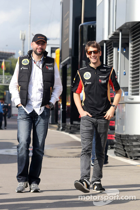 Gerard Lopez, Proprietário da Lotus Renault GP e Romain Grosjean, Lotus F1 Team