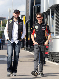 Gerard Lopez, Lotus Renault GP owner and Romain Grosjean, Lotus F1 Team