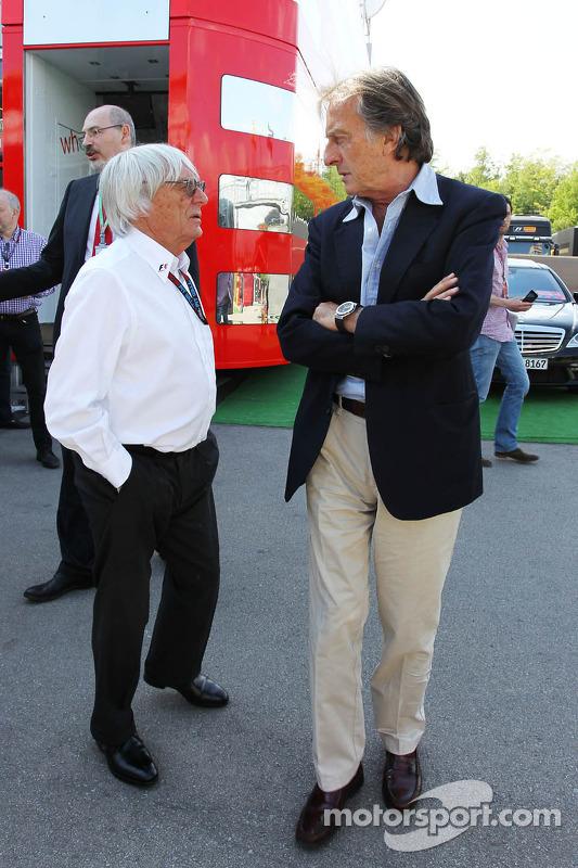 (Da esquerda para direita): Bernie Ecclestone, CEO do Grupo F1, com Luca di Montezemolo, Presidente