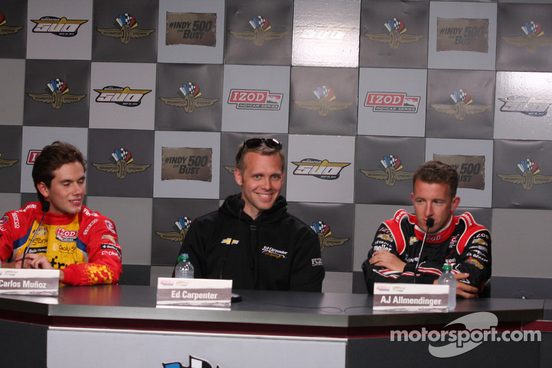 Carlos Munoz, Andretti Autosport Chevrolet, Ed Carpenter, Ed Carpenter Racing Chevrolet, A.J. Allmendinger, Team Penske Chevrolet