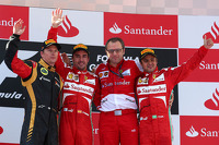 Podium: race winner Fernando Alonso, Ferrari, second place Kimi Raikkonen, Lotus F1, Third place Felipe Massa, Ferrari and Stefano Domenicali, Ferrari General Director