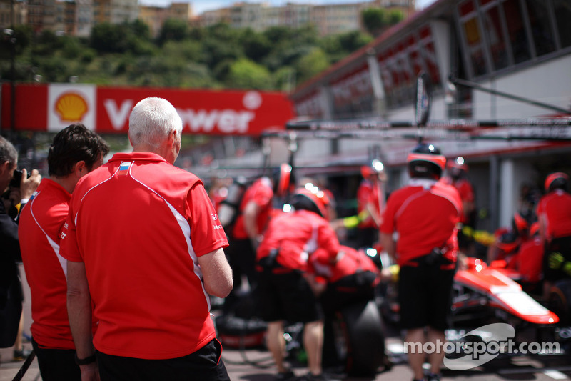 John Booth, Marussia F1 Team Team Principal watches the team practice pit stops