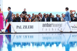 Adrian Sutil, Sahara Force India F1 and Esteban Gutierrez, Sauber at the Amber Lounge Fashion Show