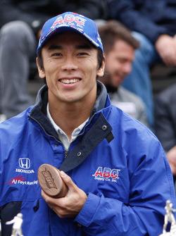 Takuma Sato at the drivers meeting