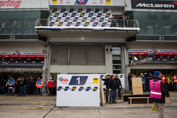Winning cars podium setup in the parc fermé