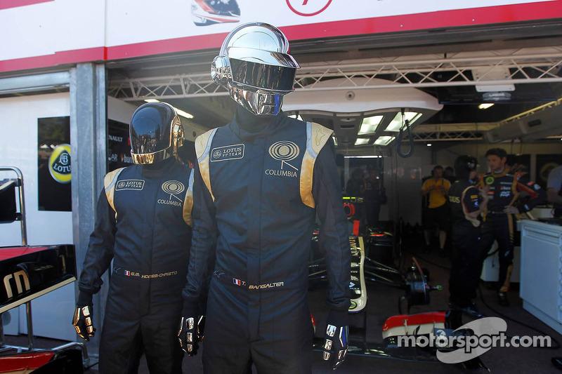 Daft Punk in the Lotus F1 garage area