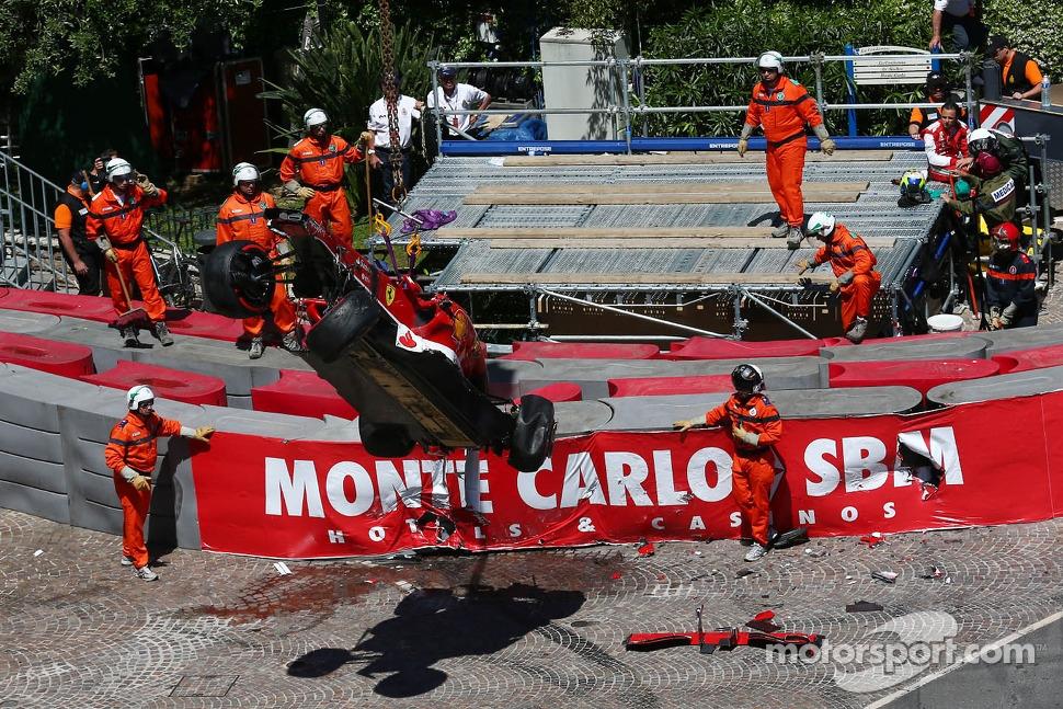 Felipe Massa, Ferrari F138 crashed out of the race at Ste Devote