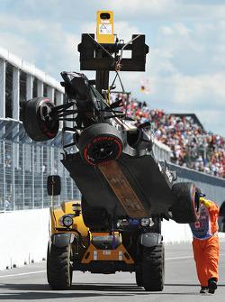 The damaged car of Esteban Gutierrez, Sauber C32