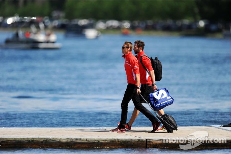 Max Chilton, Marussia F1 Team, with Sam Village, Marussia F1 Team