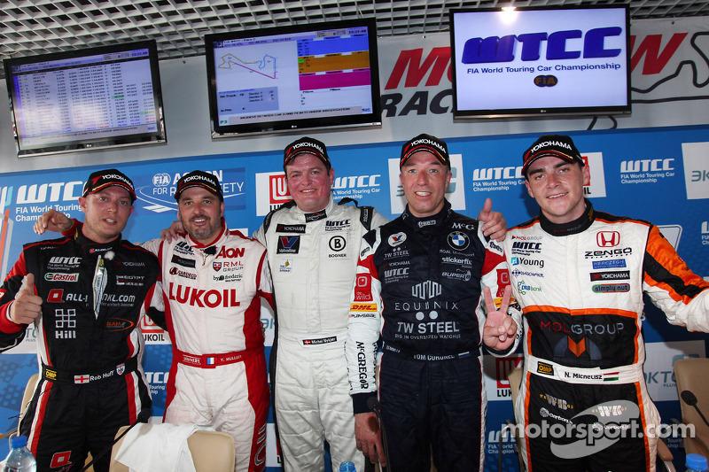 Press conference: Robert Huff, SEAT Leon WTCC, ALL-INKL.COM Munnich Motorsport, Yvan Muller, BMW E90 320 TC, ROAL Motorsport  and Norbert Michelisz, Honda Civic, Zengo Motorsport