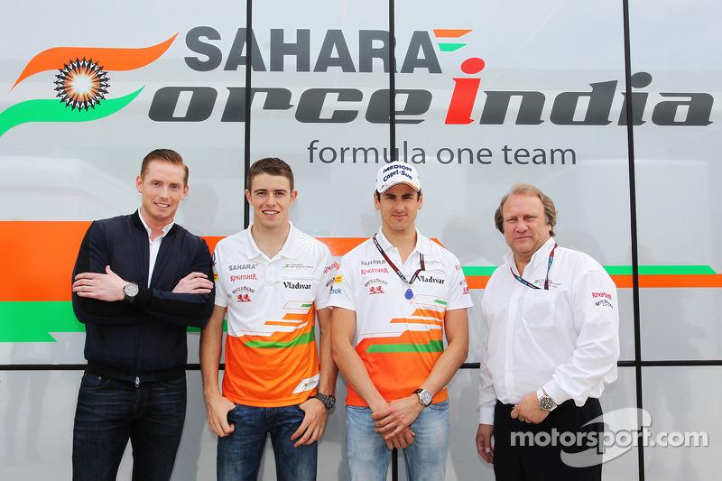 Jordy Cobelens, CEO TW Steel with Paul di Resta, Sahara Force India F1; Adrian Sutil, Sahara Force I