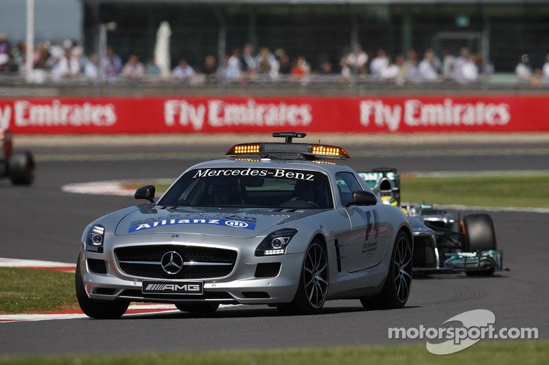 Nico Rosberg Mercedes AMG F1 W04 leads behind the Safety Car