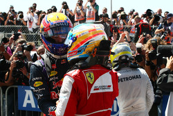 Mark Webber Red Bull Racing and Fernando Alonso Ferrari in parc ferme
