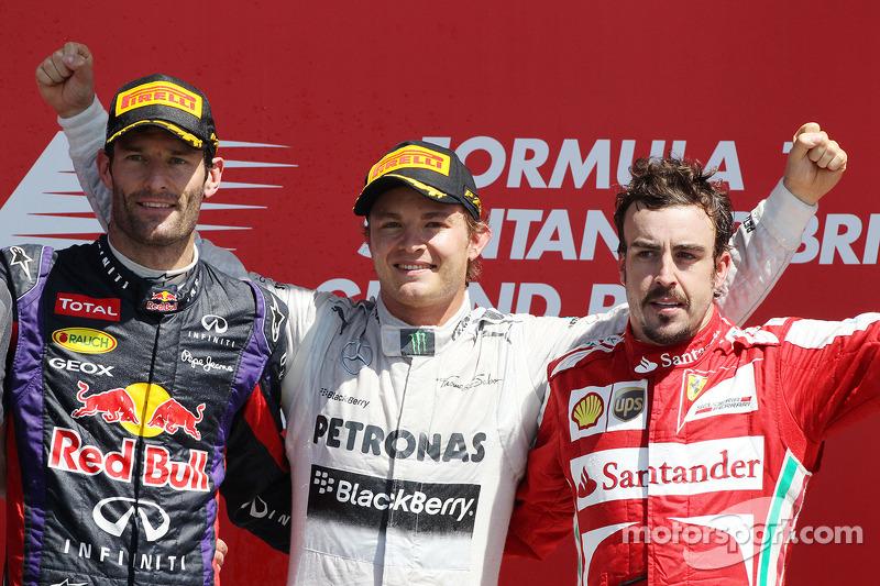 Podio de F1 en Silverstone 2013: 1. Nico Rosberg, 2. Mark Webber, 3. Fernando Alonso