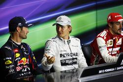 The FIA Press Conference Mark Webber Red Bull Racing, second; Nico Rosberg Mercedes AMG F1, race winner; Fernando Alonso Ferrari, third