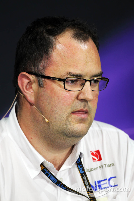 Tom McCullough, Sauber F1 Team Head of Track Engineering bij de FIA-persconferentie