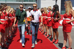 (L to R): Giedo van der Garde, Caterham F1 Team and Max Chilton, Marussia F1 Team on the drivers parade