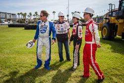 Daytona Rising event: Darrell Waltrip, Larry McReynolds, Greg Biffle, Roush Fenway Racing Ford and Trevor Bayne, Wood Brothers Racing Ford