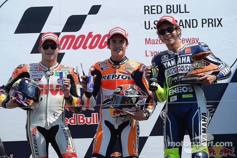 Podio: 1º Marc Márquez, 2º Stefan Bradl, 3º Valentino Rossi