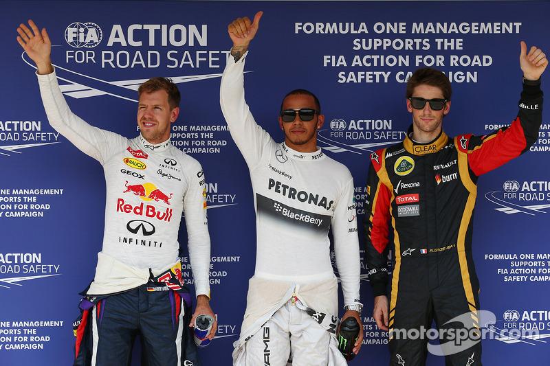 Pole for Lewis Hamilton, Mercedes AMG F1, 2nd Sebastian Vettel, Red Bull Racing and 3rd Romain Grosj