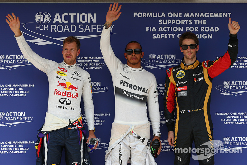 Pole for Lewis Hamilton, Mercedes AMG F1, 2nd Sebastian Vettel, Red Bull Racing and 3rd Romain Grosj
