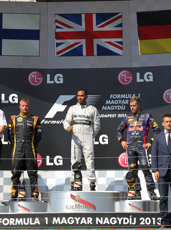 1st place Lewis Hamilton, Mercedes AMG F1 W04 with 2nd place Kimi Raikkonen, Lotus F1 E21 and 3rd place Sebastian Vettel, Red Bull Racing