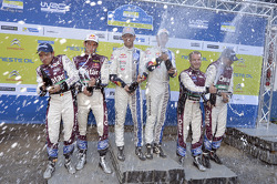 Winners Sébastien Ogier and Julien Ingrassia, Volkswagen Polo WRC, Volkswagen Motorsport, second place Thierry Neuville and Nicolas Gilsoul, Ford Fiesta WRC, Qatar M-Sport WRT, third place Mads Ostberg and Jonas Andersson, Ford Fiesta RS WRC, Qatar M-Spor