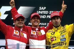 Podium : le second Rubens Barrichello, Ferrari, le vainqueur Michael Schumacher, Ferrari, le troisième Heinz-Harald Frentzen, Jordan