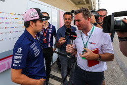Sergio Perez, Sahara Force India talks with Craig Slater, Sky TV