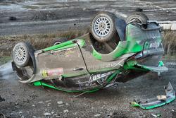 The crashed car of Yazeed Al Rajhi, Michael Orr, Yazeed Racing Ford Fiesta RS WRC