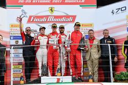 Podium European Challenge: Race winner #11 Formula Racing Ferrari 488: Nicklas Nielsen, second place #8 Octane 126 Ferrari 488: Fabio Leimer, third place #1 Octane 126 Ferrari 488: Bjorn Grossmann