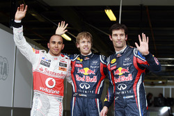 Polesitter Sebastian Vettel, Red Bull Racing, second place Lewis Hamilton, McLaren MP4-26 Mercedes and third placeMark Webber, Red Bull Racing