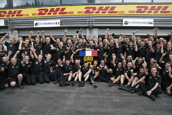 Third place Romain Grosjean, Lotus F1 celebrates with his team