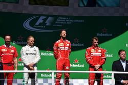 Podium: winner Sebastian Vettel, Ferrari, second place Valtteri Bottas, Mercedes AMG F1, third place Kimi Raikkonen, Ferrari, Giuseppe Vietina, Ferrari