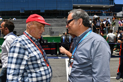 Niki Lauda, Mercedes AMG F1 Non-Executive Chairman and Alejandro Soberon, President and CEO for CIE Group and President of Formula 1 Gran Premio de Mexico