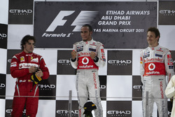Podium: second place Fernando Alonso, Ferrari, Race winner Lewis Hamilton, McLaren, second place Jenson Button, McLaren