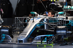 The car of Valtteri Bottas, Mercedes-Benz F1 W08  with aero sensors