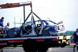 The Volvo 850 of Jamie Davies after crashing